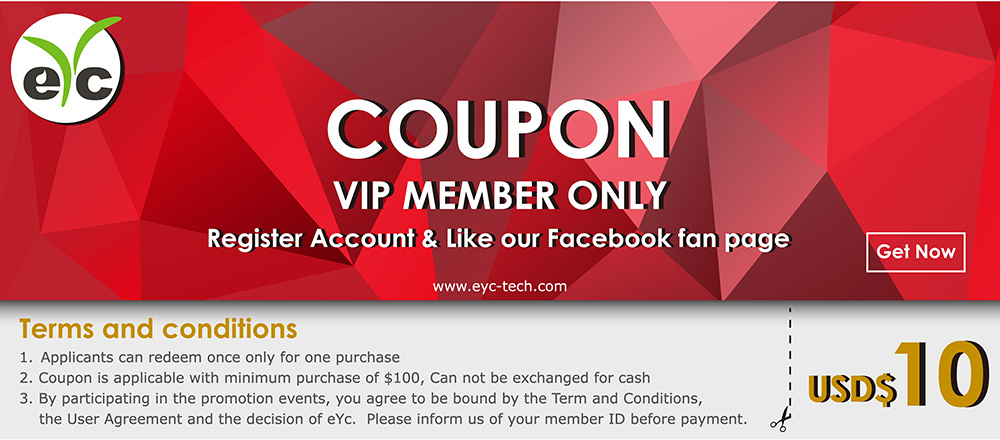 COUPON Activities : Join eYc VIP Members & Facebook Fans to get USD$10 free