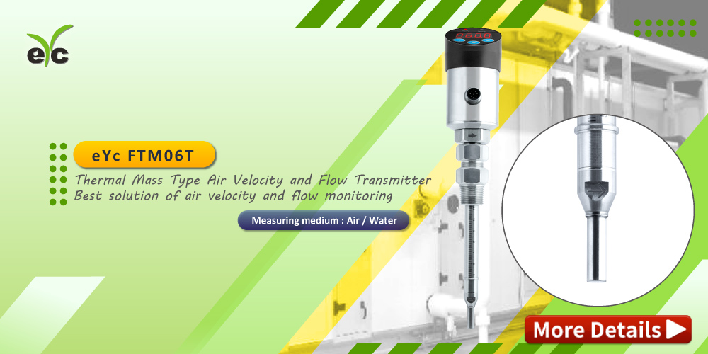 eYc FTM06T Air / Water thermal mass type air velocity and flow transmitter applied to Make-up Air Unit, the air turndown ratio is 50:1, it comes with excellent repeatability at low velocity