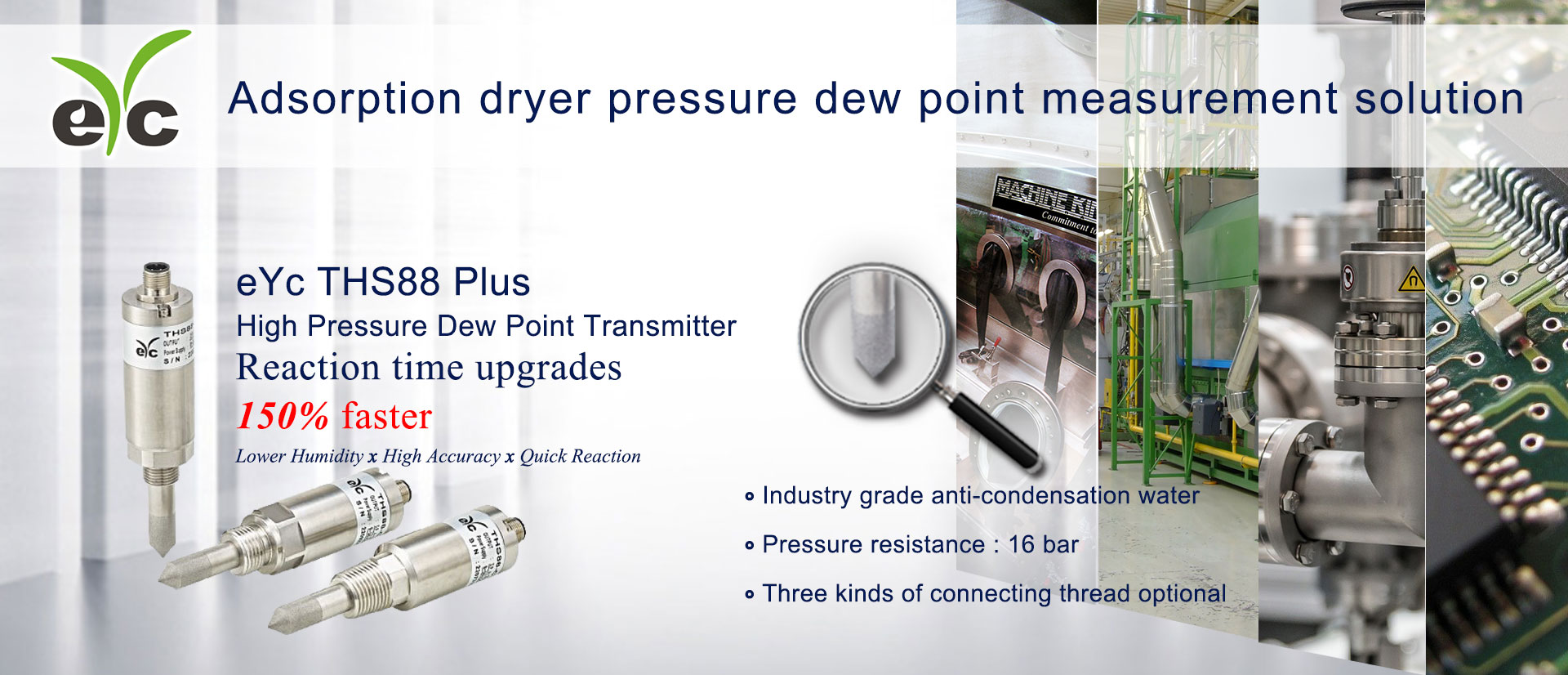 eYc THS88 Plus Industry Application Adsorption dryer pressure dew point measurement solution